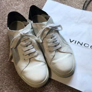 Vince white gym shoes w black suede back size 8.5
